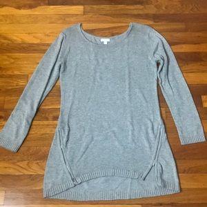 NY&Co Grey Zipper Long Sleeve Round Collar Tunic